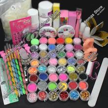 Hot Pro Acrylic Nail Liquid Art Brush pegamento Glitter Powder Buffer Tool Set Kit #28(China (Mainland))