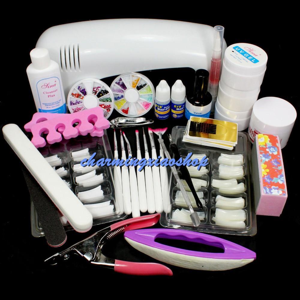 Pro Nail Art UV Gel Kits Tool UV Lamp Brush Remover Nail Tips Glue Acrylic Set Gel Nail Kit Manicure Set 2417<br><br>Aliexpress