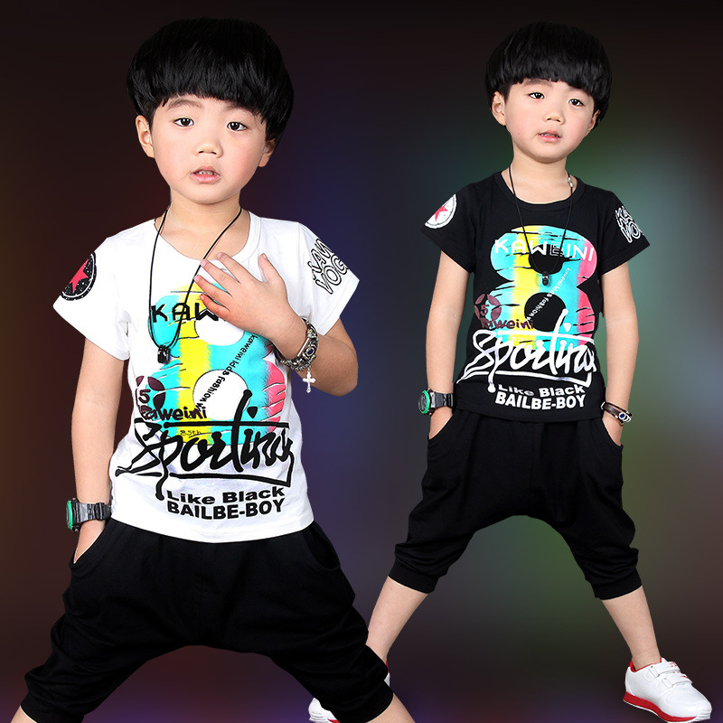 New Hip Hop Clothing 2016 Black White Children Tees Shirts Short Pants 2pcs Sport Set For Boys Kids Summer Suit 3-10 Years Old(China (Mainland))