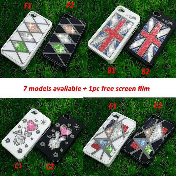 New Arrival Diamond PC Protection Case Cover for iPhone 4/4s+1pc scree film+1PC Frame(China (Mainland))