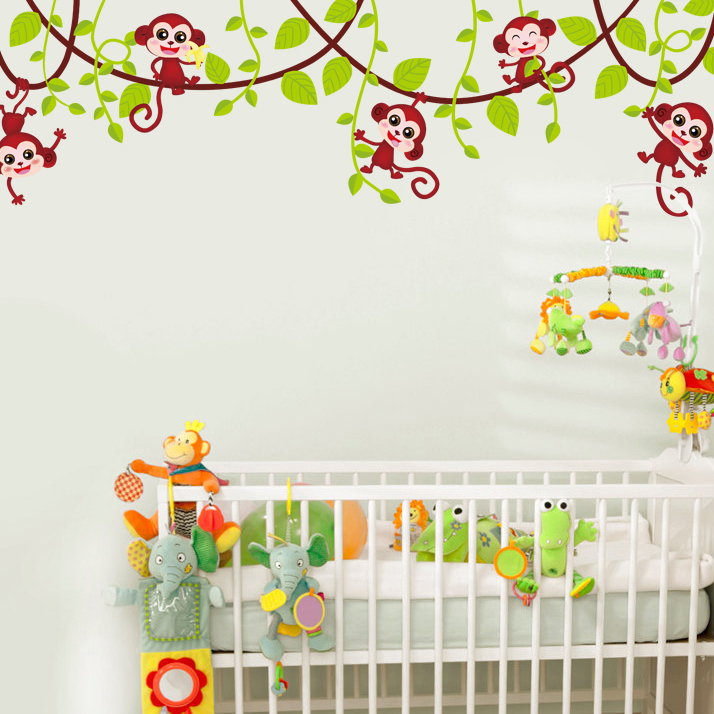 Art Decals Warm Child Room Monkey Tree Wall Poster Wall Stickers for kids room living room
