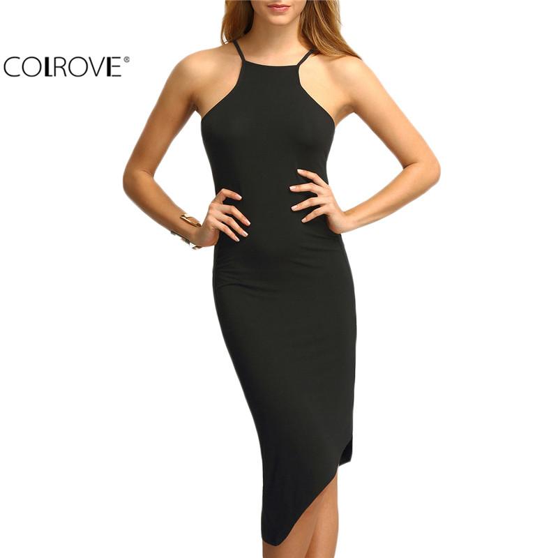 COLROVE Black Cut Away Irregular Hem Sexy Dress Women Plain Spaghetti Strap Sleeveless Sheath Knee Length Dress(China (Mainland))