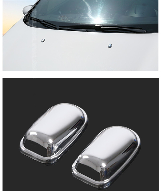 FOR Ford Fiesta 2009 2010 2011 2012 2013 2014 2015 2pcs ABS CHROME WINDSHIELD WASHER WIPER WATER SPRAY NOZZLE COVER CAPS(China (Mainland))