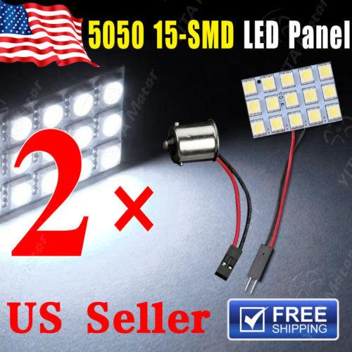 Hot Selling Car Light Lights 2pcs RV White 5050 15-SMD led Bulbs Lamp Panel Dome Map Interior Light Bulb +1156 BA15S Adapter(China (Mainland))