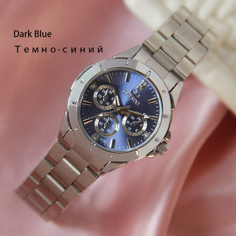 CHENXI Ladies Watches Silver Stainless Steel Wrist watch for Women Fashion Dress Quartz 5 Color Analog Casual Female Clock