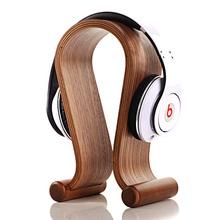 100% Walnut Wood Design Headphone Holder Hanger Classic Wooden Gaming Headset Display Stand Shelf Rack Bracket For Earphone