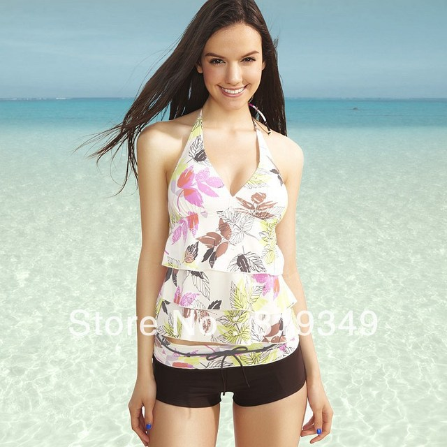 2013 New Sexy VANCL Women Swimsuit French Chic Two-Piece Sweet Summer Leaves Design Swimsuit Multicolor FREE SHIPPING