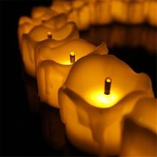 24 шт. желтый мерцания воск понизил дешевые свечи слезинка чай света беспламенные свечи батарейках электронные свечи