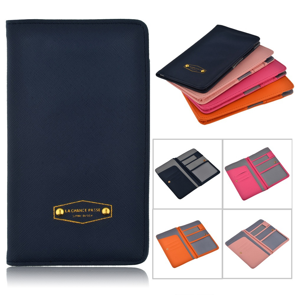 4 color Leather PU passport cover wallet Women Men Travel Wallet case Document id credit card
