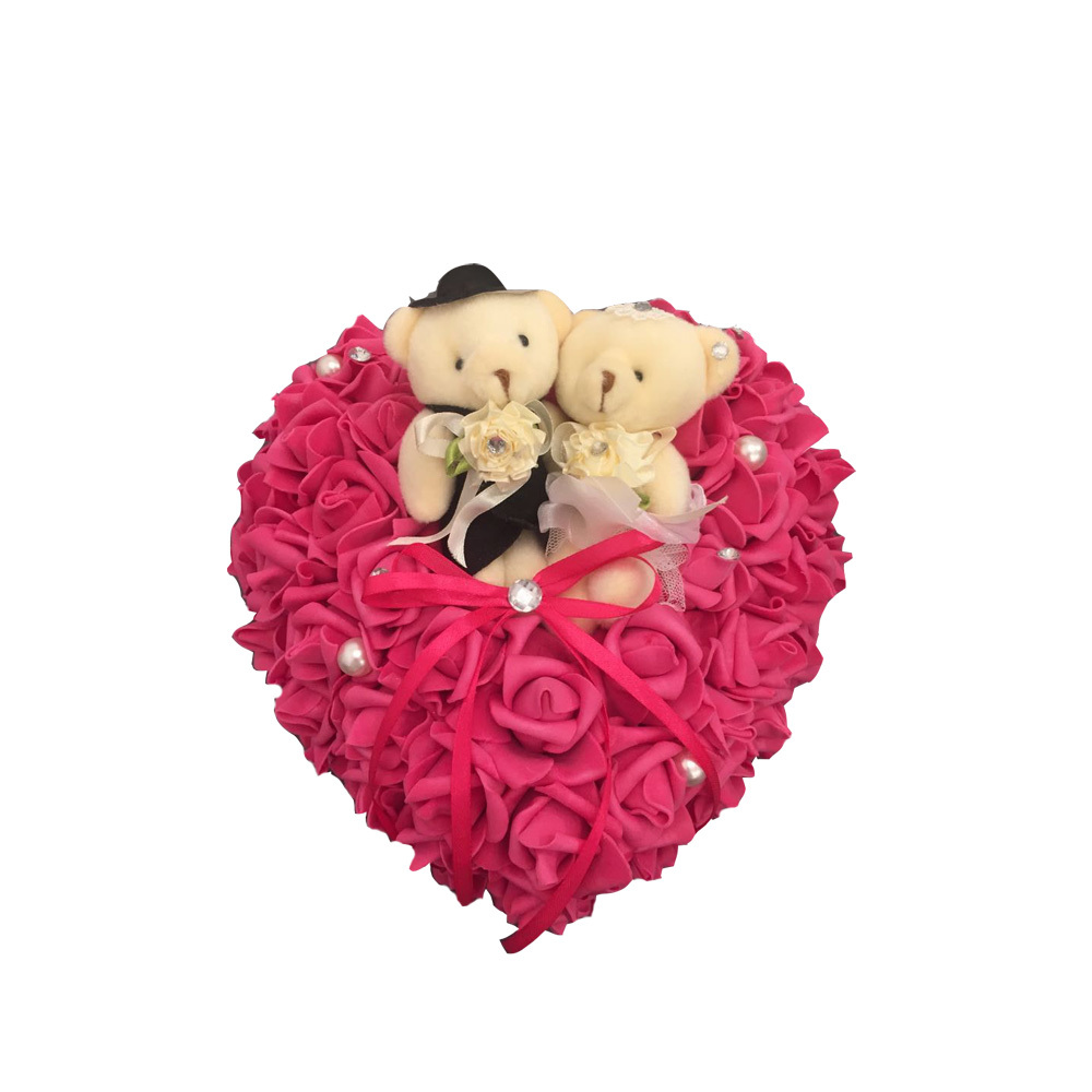 Free shipping Rose red Teddy Bear Beige Wedding Favors Ring Box Heart Design Ring Pillow wedding decoration wedding favors(China (Mainland))