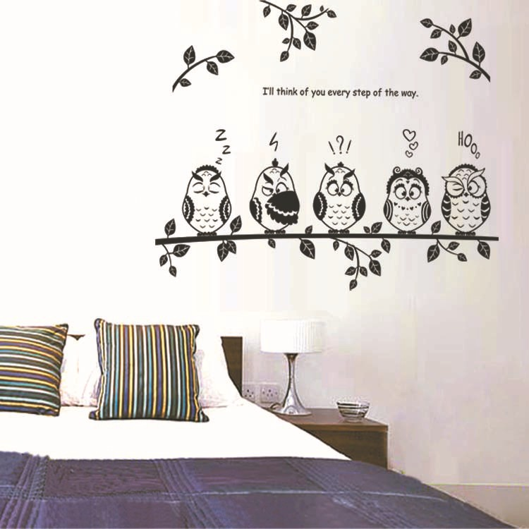 Wholesale children bed decorated wall tenant office branches of an owl family wall stickers JM8353(China (Mainland))