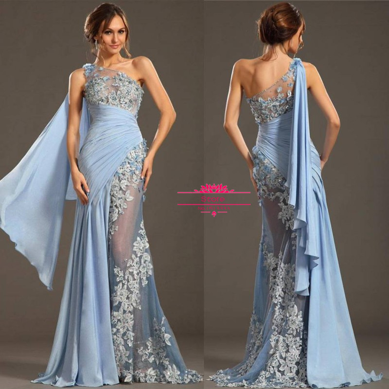 2016 women appliques formal evening gowns dresses sexy one for Elegant wedding party dresses