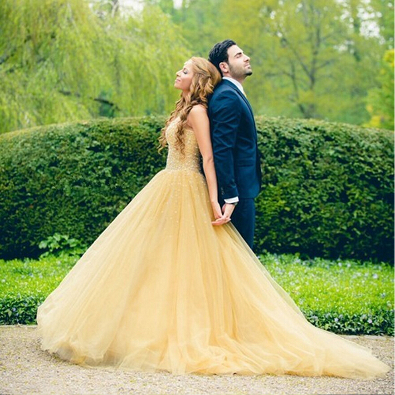 Желтое свадебное платье