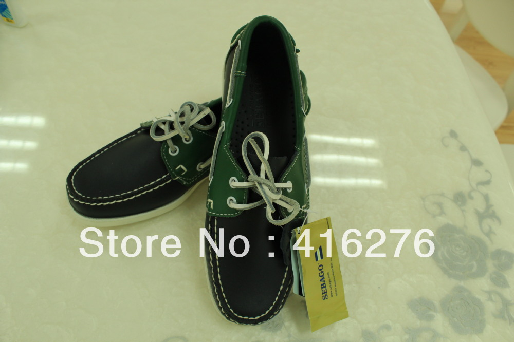 free shipping boat shoes pure handmade Blue and green leather first layer Combined with the color of leather have stock(China (Mainland))