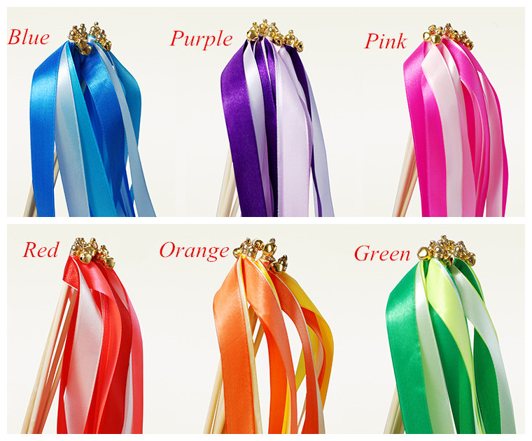 Lots 60pcs Twirling Streamers Wedding decoration Wedding Favor Ribbon Sticks/Wands With Bells & Metal-6 Colors for choose
