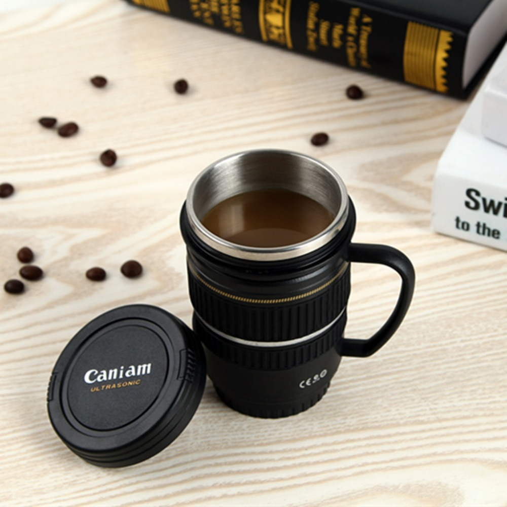 Camera Lens Cups and Mugs With Handle Cup Caniam Logo Stainless Steel Milk Beer Coffee Tea Mug Cup 220ML 7.75OZ M107 MUG-14(China (Mainland))