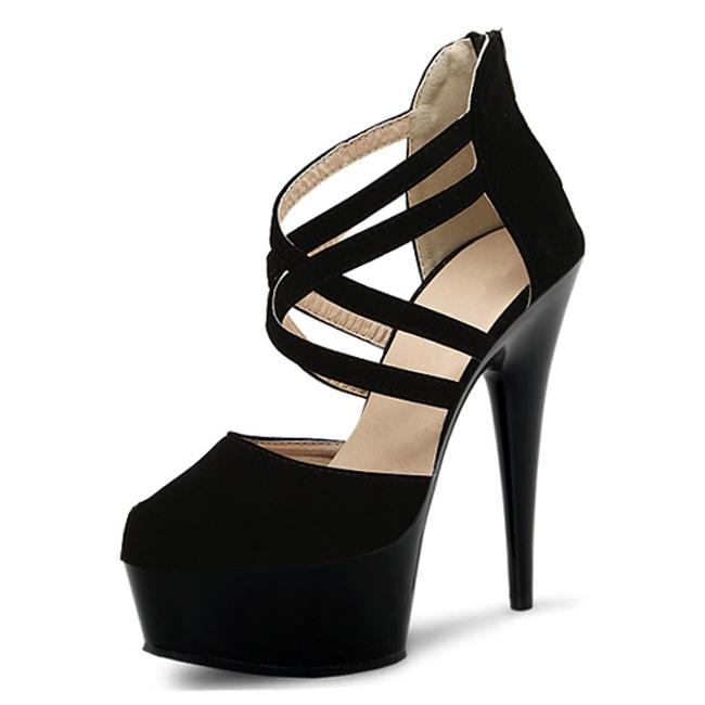 Matte black fashion magazine cover model shooting fashion runway 15 cm high stiletto shoes and sandals(China (Mainland))