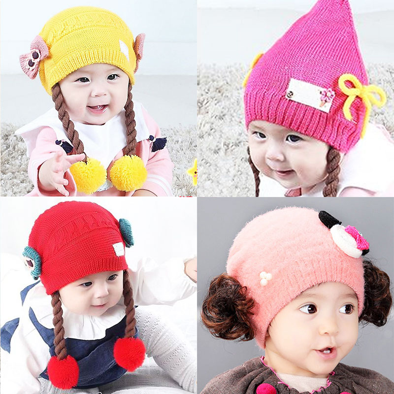 12 Colors New Fashion Soft Cute Princess Baby Girls Spring Autumn Winter Wigs Bow Knitting Beanie Hat Caps Headwear Accessories(China (Mainland))