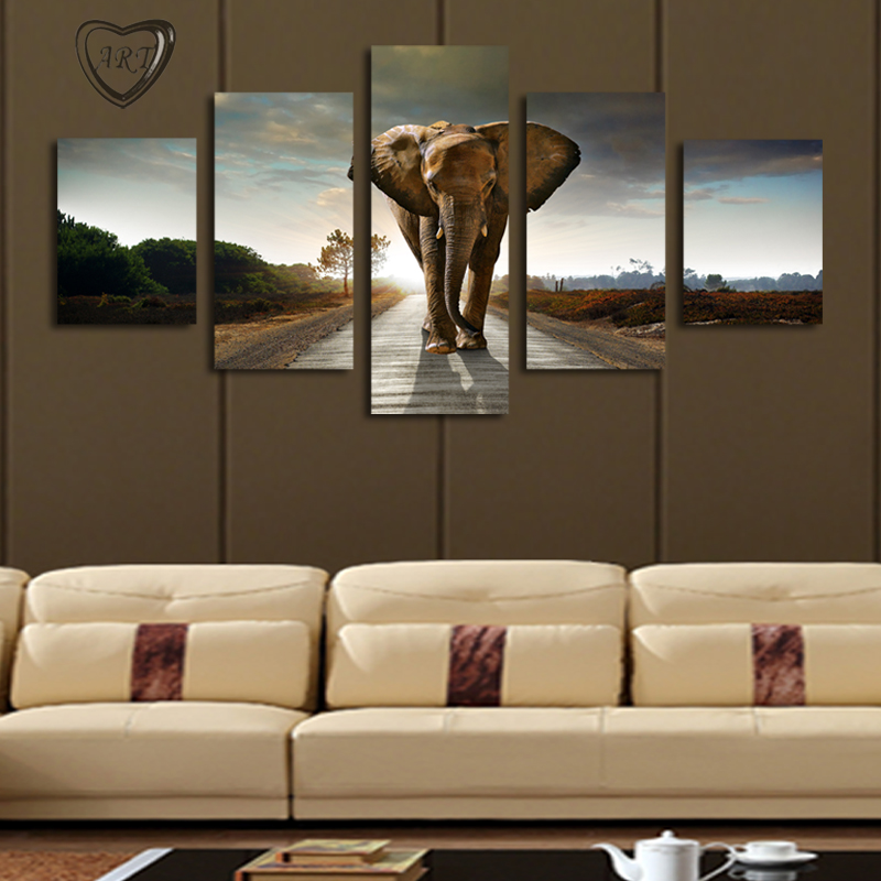 5 pcs no frame elephant painting canvas wall art picture for Wall art paintings for living room