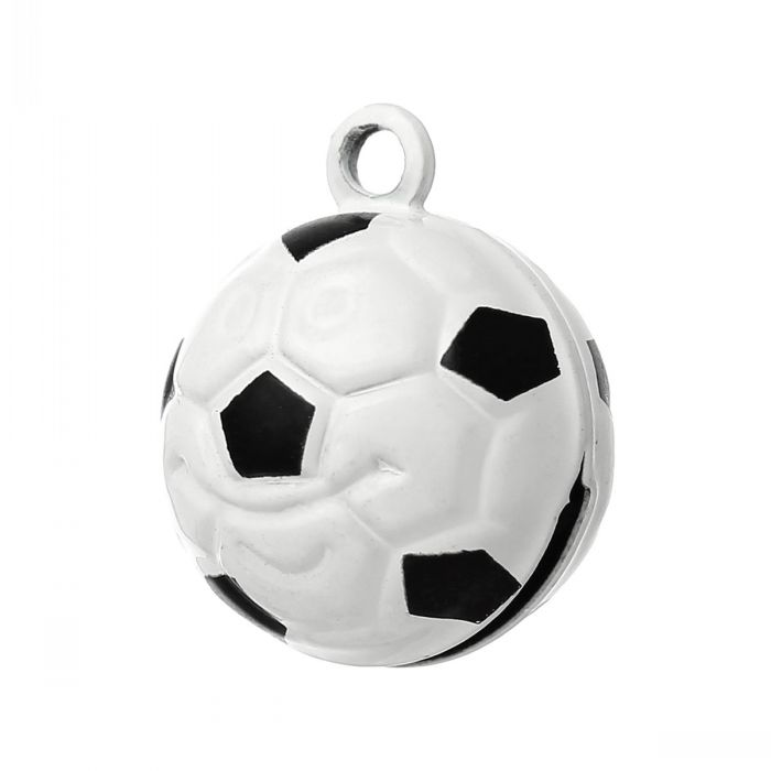 Copper Charm Pendants Christmas Ornament Football Bell Black & White 21.0mm x 17.0mm,10 PCs(China (Mainland))