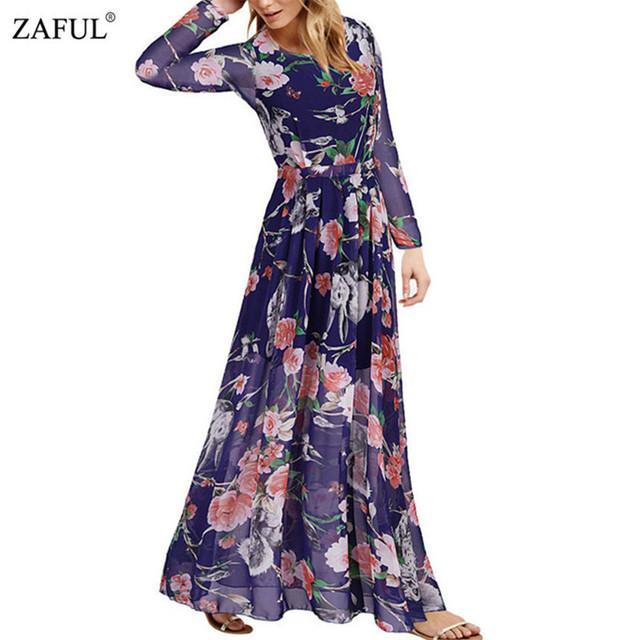 Zaful 2016 новый бренд женщин свободного покроя чешские шифон плиссированные макси платье мода сова цветочные печатный длинным Boho платья Большой размер