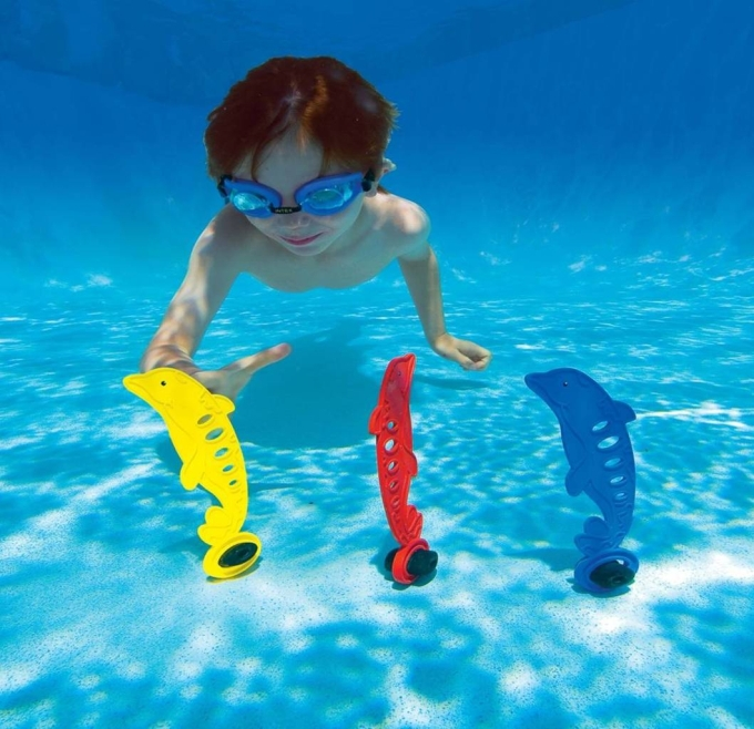 062892 3pcs/lot dolphins swimming underwater fun toys intex floating buoy new design creative baby bath toys(China (Mainland))
