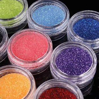 Free Shipping 12  Colour Nail Art Glitter Dust Laser Powder New