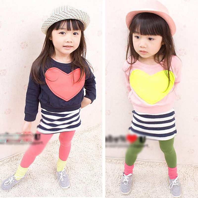 fashion girl's Cotton Blend sets children's clothing Autumn girl Long sleeve Heart Bat shirt + Striped vest Dress 2pcs suits(China (Mainland))