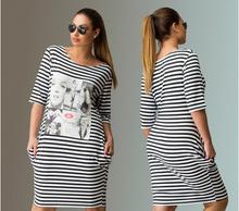 women striped print plus size dresses o-neck half sleeve knee high women summer dresses casual clothing(China (Mainland))