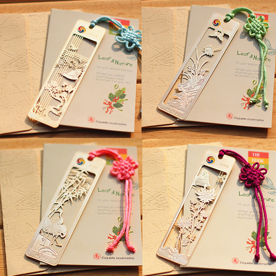 gold book mark exquisite chinese style bookmark 18k gold plated bookmark gift Plum flower orchid bamboo chrysanthemum bookmark(China (Mainland))