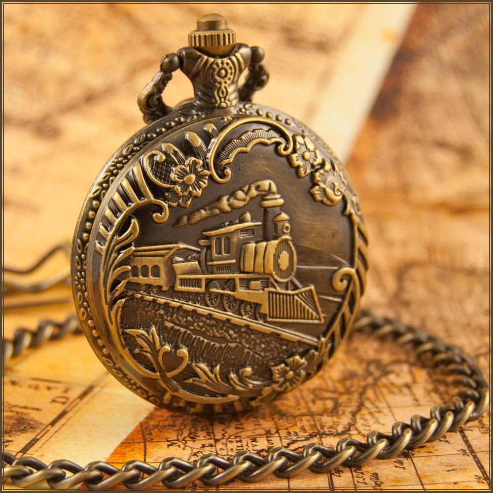 Vintage Train Locomotive Engine Bronze Necklace Quartz Pocket Watch Gifts(China (Mainland))
