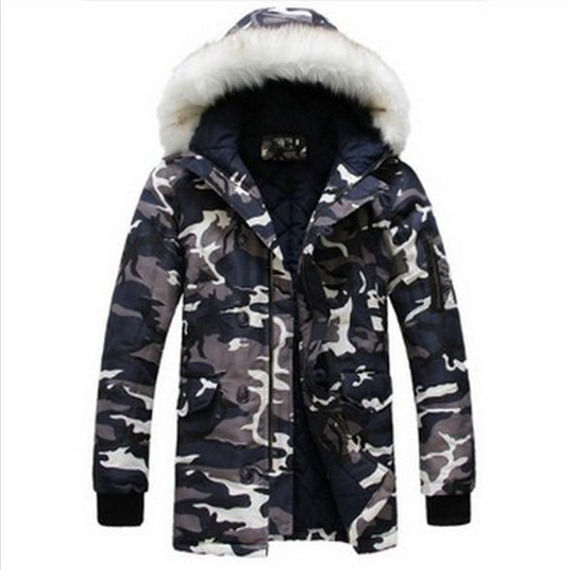 2015 New Winter Jacket For Mens Parka Fashion Cool Men Camouflage Large Fur Collar Long Design ...