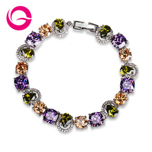 Mona Lisa Trendy Style Luxury Exquisite White Gold Plated Special Colorful Crystal Rhinestone Bracelets Free Shipping GLS0159(China (Mainland))