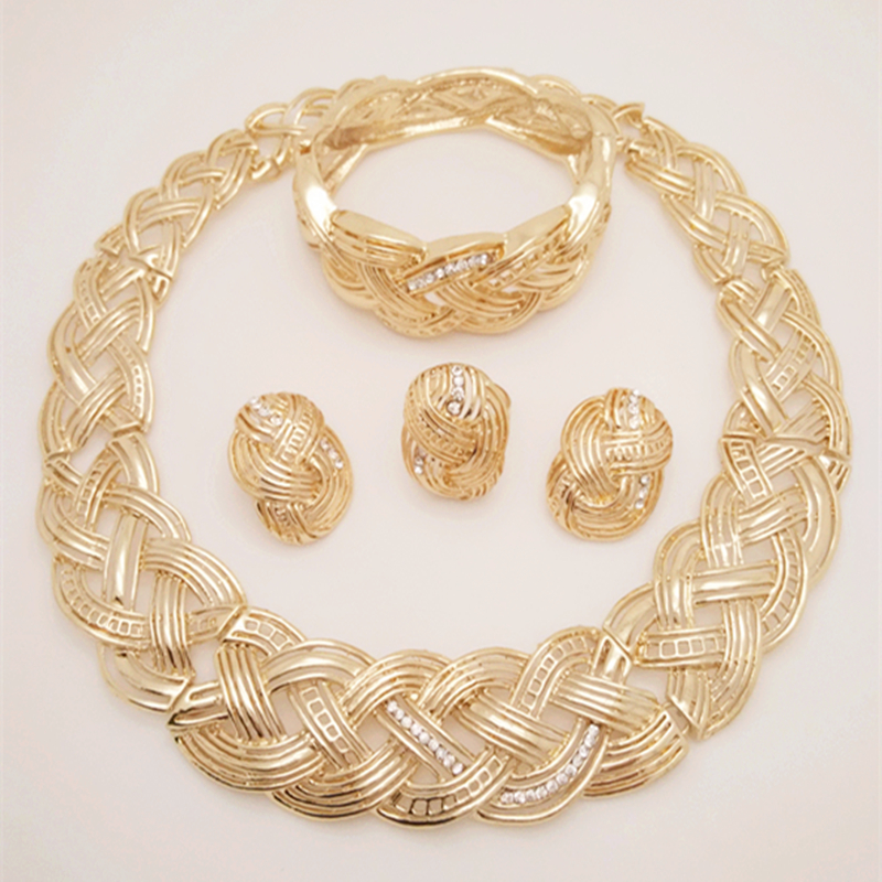 Top Quality Q&P 18K Gold Plated Necklace Earrings Bracelet Ring Sets African Women Big Jewelry Sets African Costume Jewelry Sets