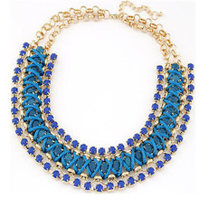 2015 Brand design temperament Bohemian amorous feelings of fluorescent color necklace multi rows rhinestone necklace CC2141(China (Mainland))