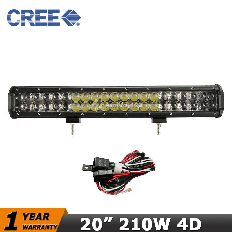 Фотография 20 inch 210W LED Truck Offroad Light Bar 4x4 CREE 4D Car Led Work Lights Combo 12V 24V SUV ATV 4WD Led offroad Bar Light