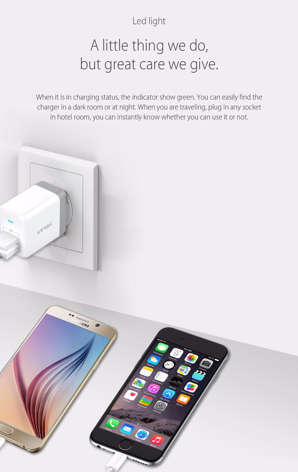 Vinsic 4.8A EU/US Plug 2 Ports Dual USB Wall Charger Smart Fast Mobile Phone Travel Charger for iPhone Samsung