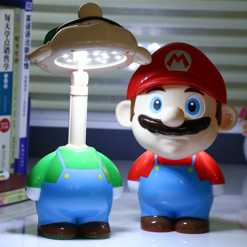 Super Mario Cute Cartoon LED Rechargeable Table Light Night lights Bedside Lamp for Children Ac 220V kid novelty lighting gifts(China (Mainland))