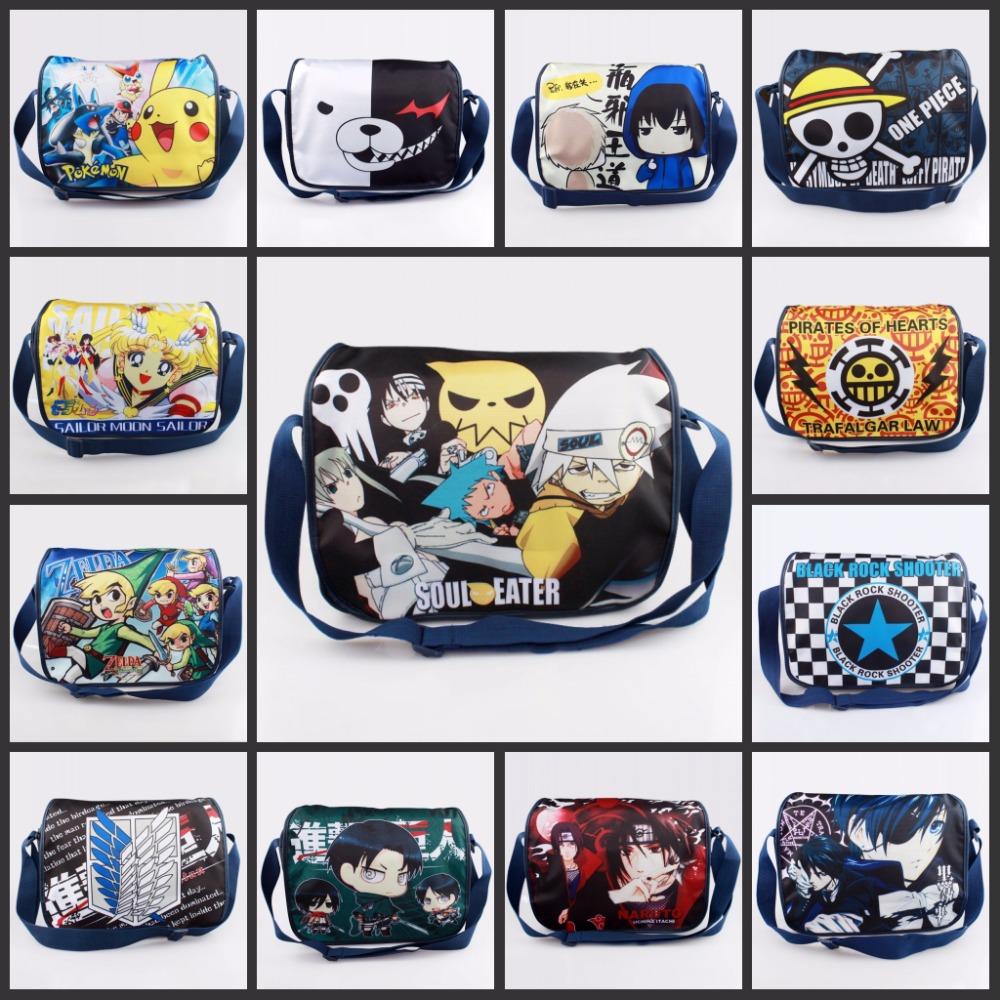 Japan anime Pikachu ONE PIECE NARUTO ZELDA Sailor Moon bag Travel Bag Computer package Shoulder Bags Messenger bag 17 style(China (Mainland))