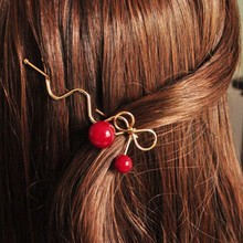 Susan' Lovely Korean Red Cherry Shaped Bowknot Hairpin Twist Hair Clip Hairpin Barrette Hair Accessories for Women Lady Girls(China (Mainland))