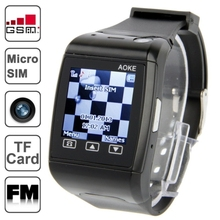 AOKE AK13 Black FM Bluetooth Watch Phone with Camera 1.25 inch Resistance Screen Micro SIM GSM Network Quad Band