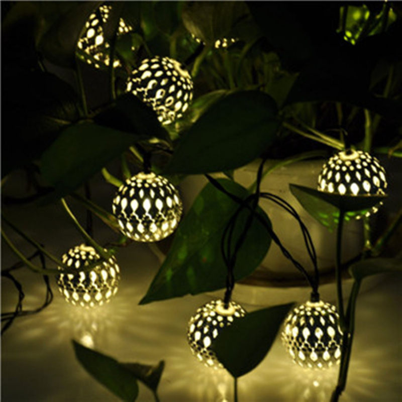 New 3.5M solar power string lights 10 LED silver Ball outdoor led rope lights waterproof decorated for Christmas Valentine's Day(China (Mainland))