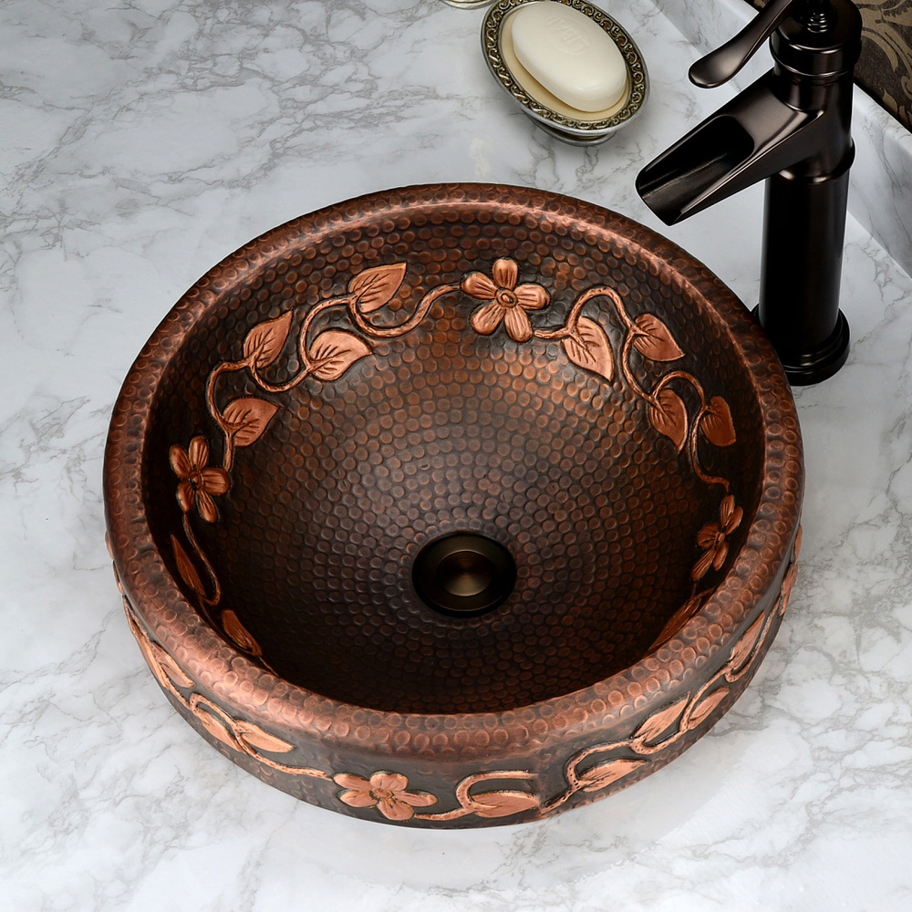 Gu Chuanou antique style round table purple copper pots full of copper Washing washbasin shower pressure patterns classical Tong(China (Mainland))