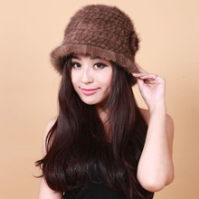 real mink fur hats for women winter knitted mink hat natural flowers winter women's hats with fur Multiple colors free size
