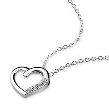 Buy Delicate women sterling silver necklace, solid 925 silver heart-shaped pendant necklace, fashion clavicle short chain jewelry for $9.05 in AliExpress store