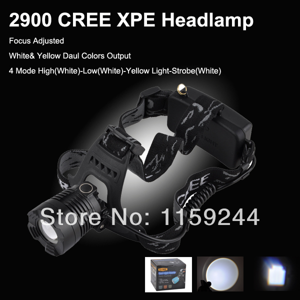 2014 New 2900 Dual Light Color CREE XPE Q5 LED 4 Mode White and Yellow Focus Zoom Light Camping 18650 LED HeadLight(China (Mainland))