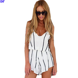 White Striped Jumpsuit 2015 New Fashion Women Overalls Macacao Feminino Beach Casual Bodysuit Rompers Womens Jumpsuit For Women
