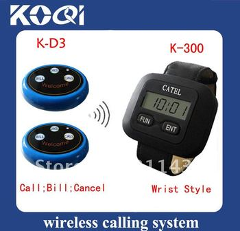 Most popular waiter pager system Sample set of 1pc wrist pager and 5pcs 3-key buttons ; Call system Can show total coming calls