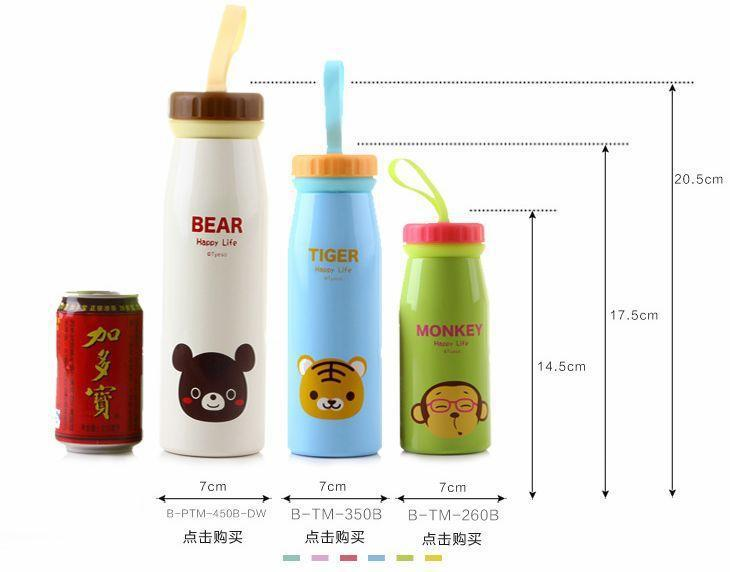 350 ML 7*17.5 cm Mug Vacuum Flask kids Stainless Steel Kettle Cup bullet dog/cat High Quality Animal Insulation Thermos Bottle(China (Mainland))