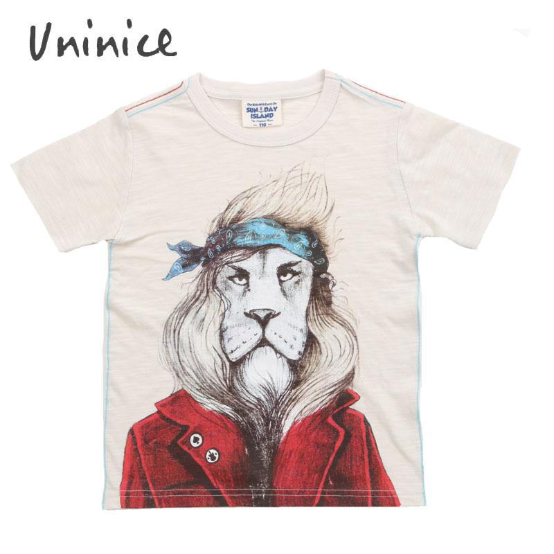 summer children Baby Boys t-shirt lion print Cartoon kids outfits short sleeve cotton Little boy top infant tees brand 2016(China (Mainland))